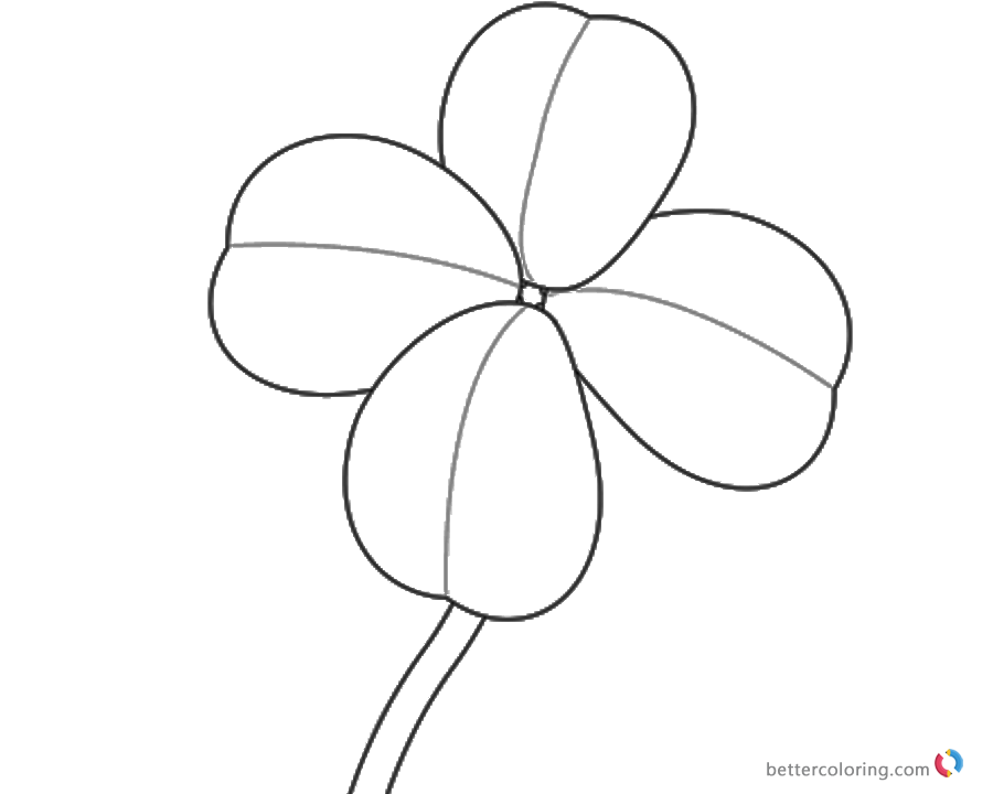 Four Leaf Clover Coloring Pages simple lineart printable