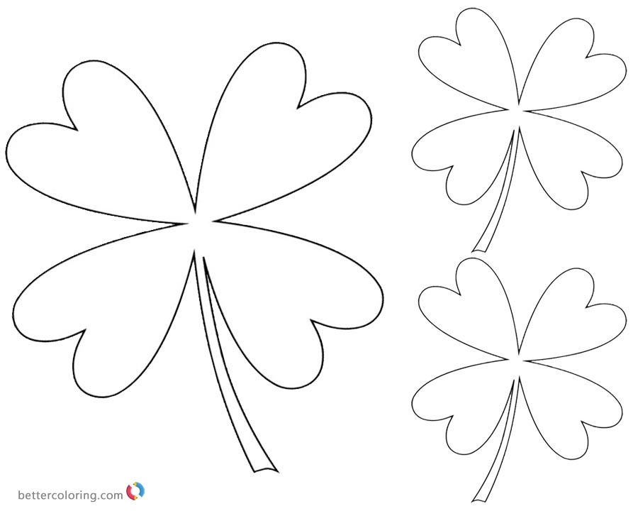 Four Leaf Clover Coloring Pages small printable