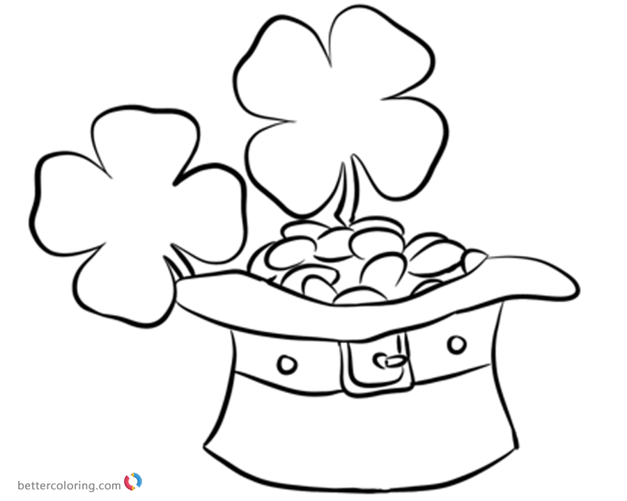 Four Leaf Clover Coloring Pages with leprechaun hat and coins printable
