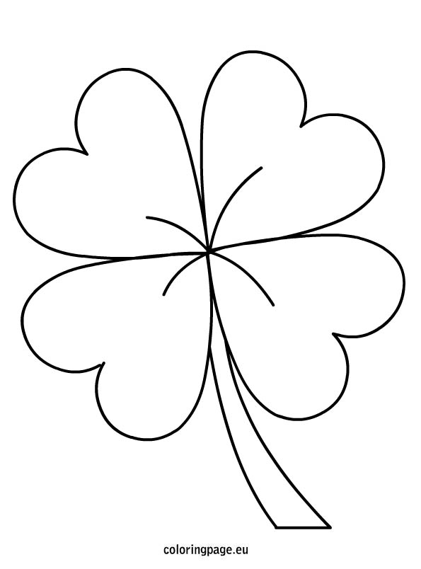 Four Leaf Clover St Patric Day Coloring Pages printable