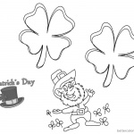 Four leaf clover St Patricks Day coloring pages