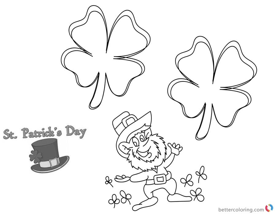 Four leaf clover St Patricks Day coloring pages printable