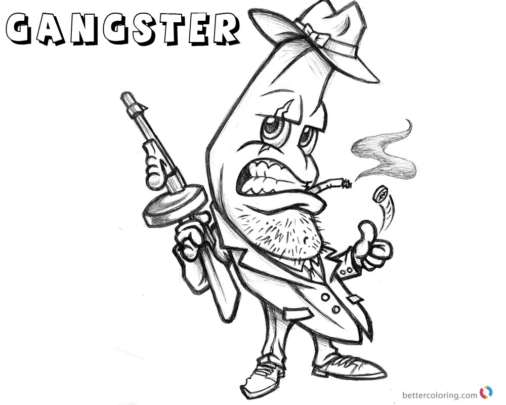 Gangster Coloring Pages Banana Cartoon Free Printable Coloring Pages