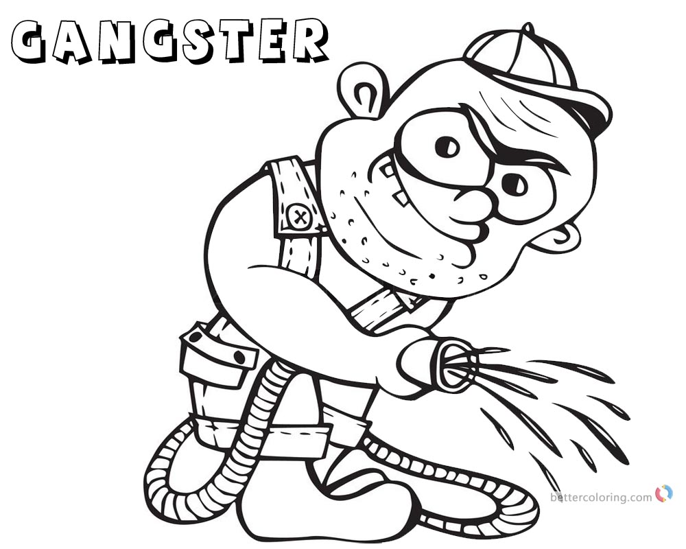 Gangster Coloring Pages Gardener Black And White Free