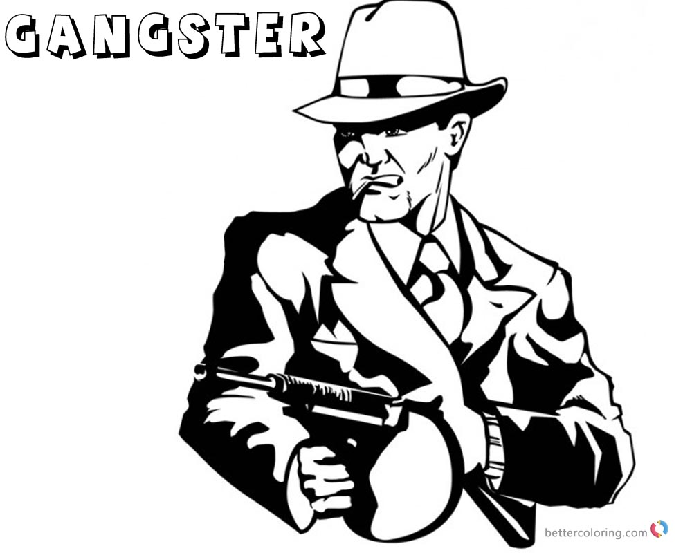 Gangster Coloring Pages Gun is Ready printable