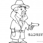 Gangster Coloring Pages Hands Up