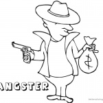 Gangster Coloring Pages gun and money