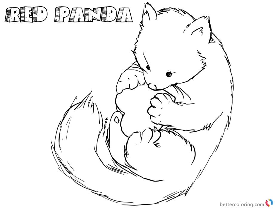 Happy Red Panda Coloring Pages printable for free