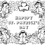 Happy St patrick day shamrock coloring pages