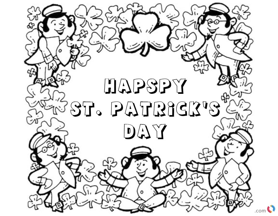 Happy St patrick day shamrock coloring pages printable