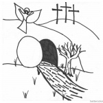 He is Risen Coloring Pages Angel Above the Empty Tomb