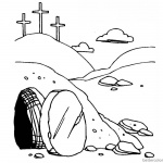 He is Risen Coloring Pages Empty Tomb Line Art of Easter