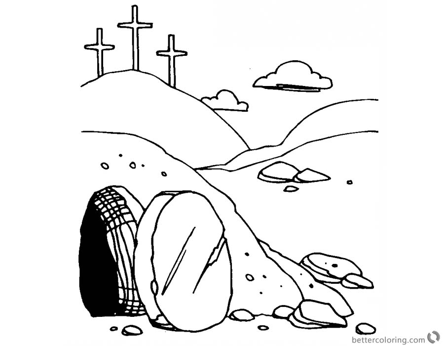 He is Risen Coloring Pages Empty Tomb Line Art of Easter - Free ...
