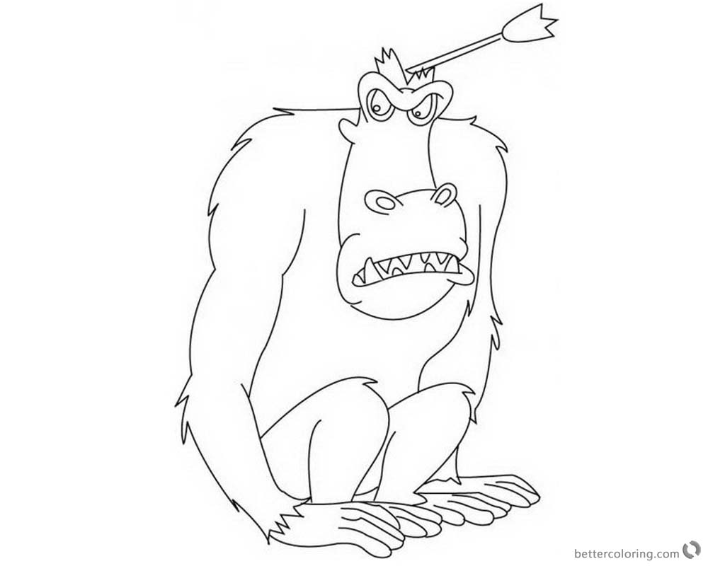 Jumanji Coloring Pages Animated TV Series Ape The Judge - Free ...
