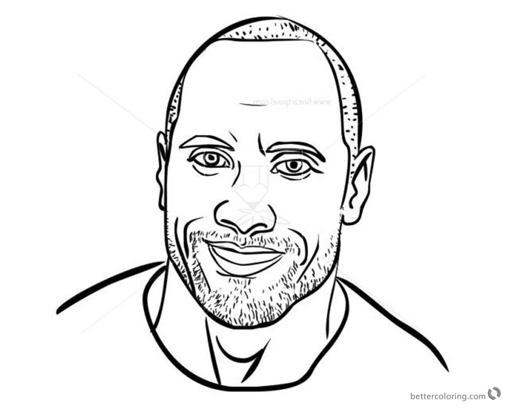 Jumanji Coloring Pages Dwayne Johnson Line Drawing Welcome to the Jungle printable for free