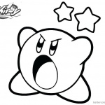Kirby Coloring Pages Angry Kirby and Star