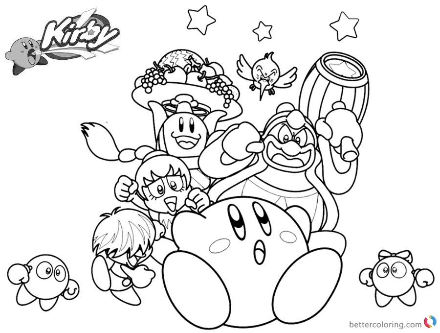 Kirby Coloring Pages Characters Picture printable and free