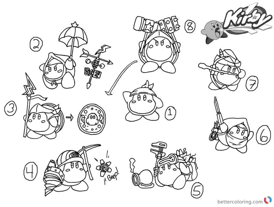 Kirby Coloring Pages Concept Art Kood Waddle Dee Abilities printable and free