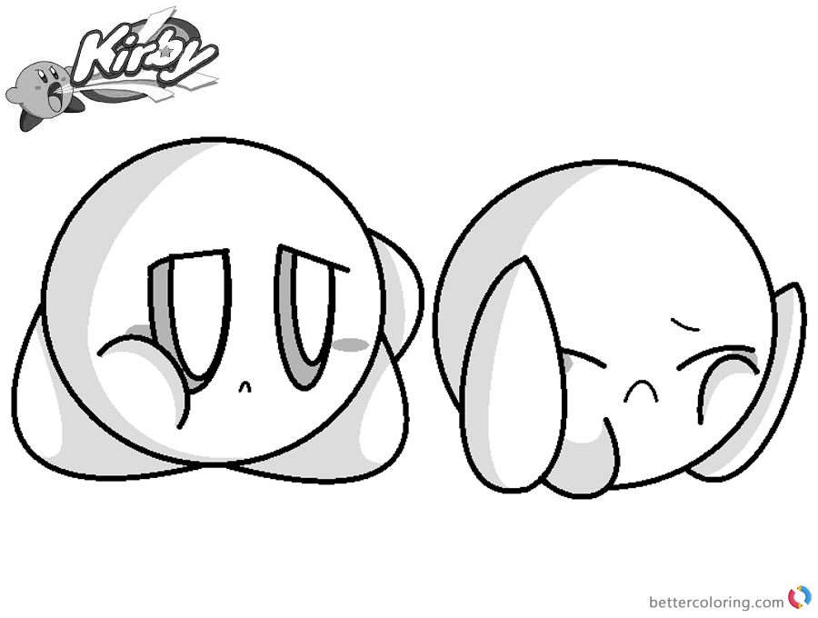 Kirby Coloring Pages Crying Kirby Base printable and free