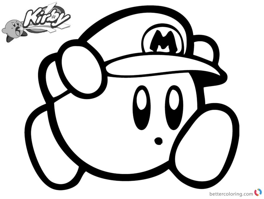 Kirby Coloring Pages Disegn Mario Free Printable