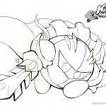 Kirby Coloring Pages Fighting with Sword Fanart