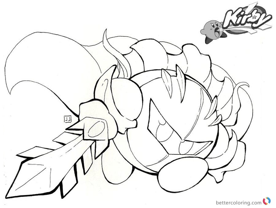 Kirby Coloring Pages Fighting with Sword Fanart printable and free