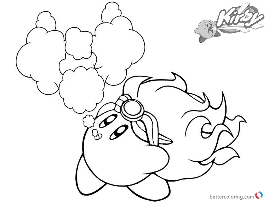 Kirby Coloring Pages Fire printable and free