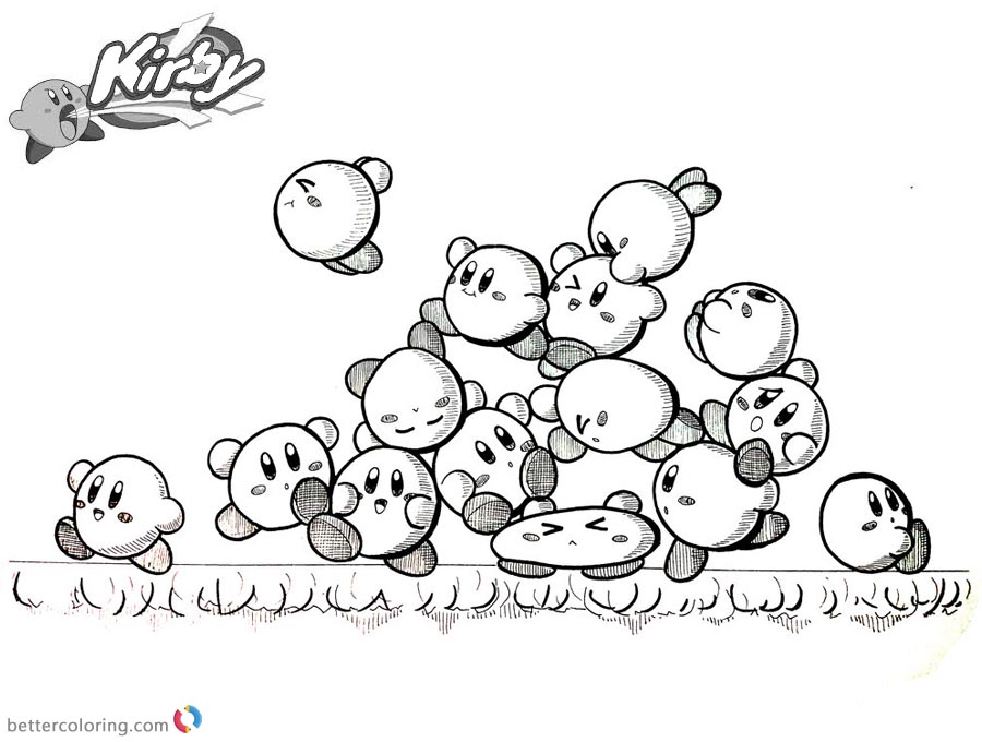 Kirby Coloring Pages Inktober Kirby Mass Attack printable and free