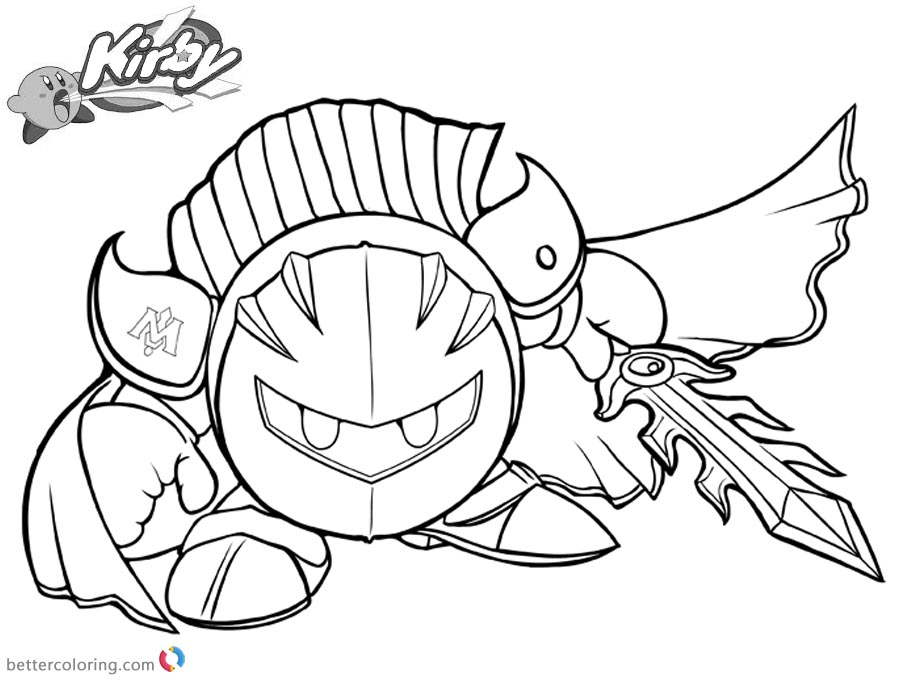 Kirby coloring pages meta knight by charfade free for Cute kirby coloring pages