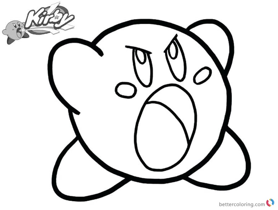 Kirby coloring pages out of temper free printable for Cute kirby coloring pages