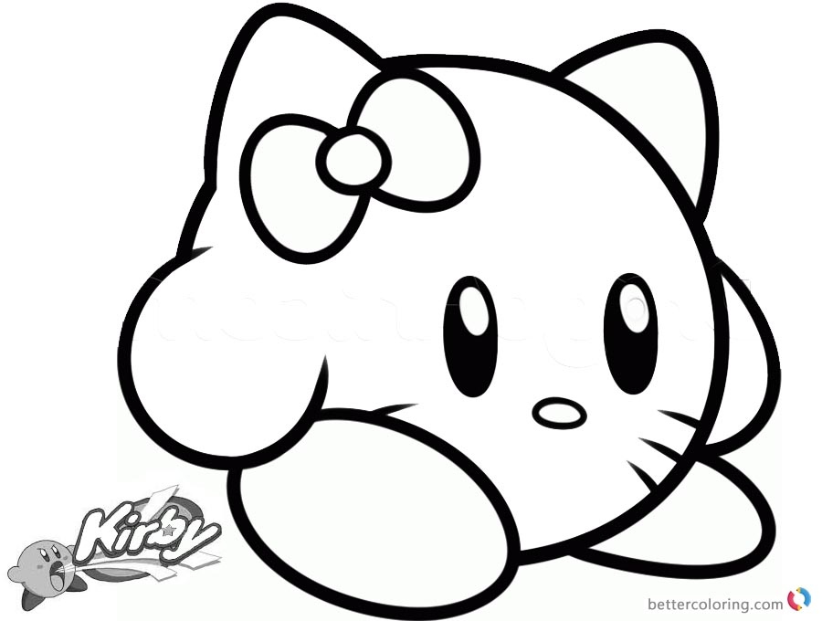 Kirby Coloring Pages Picture Hello Kitty Kirby Free Printable