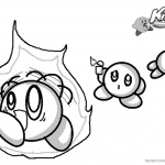 Kirby Coloring Pages Picture On Fire Kirby