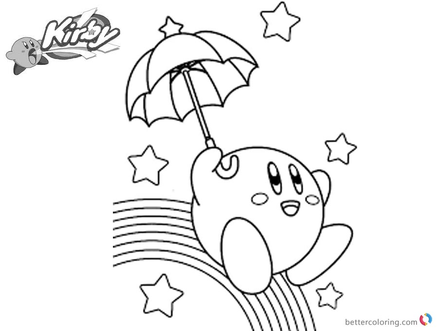 Kirby Coloring Pages Rainbow printable and free