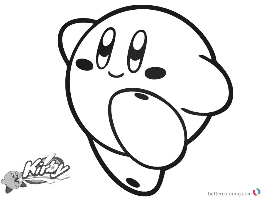 Kirby Coloring Pages Simple Happy Kirby Picture printable and free