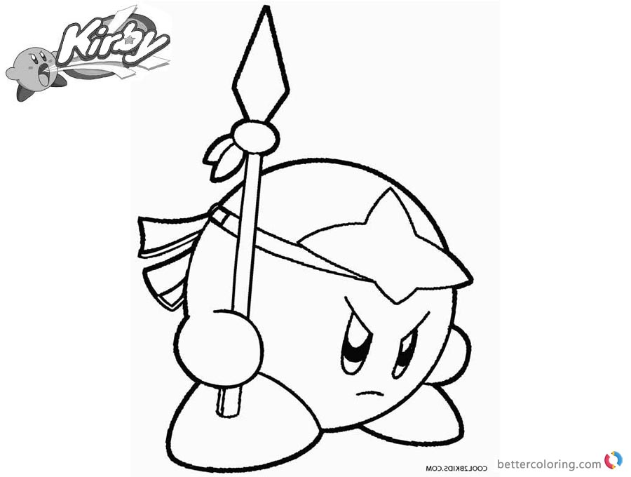 Kirby coloring pages spear kirby picture free printable for Cute kirby coloring pages