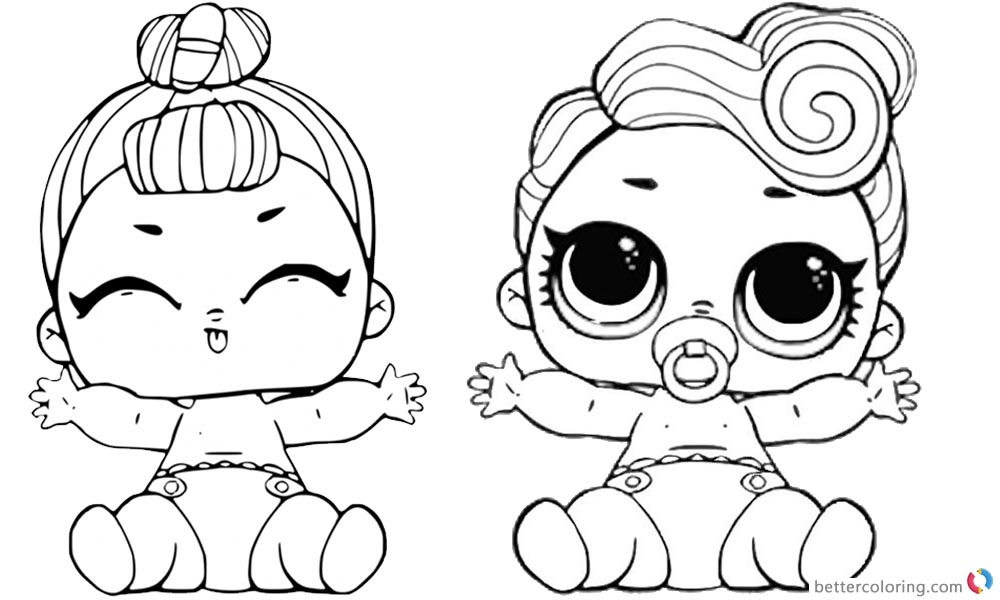 LOL Coloring Pages Lil queen and lil sugar queen printable
