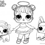 LOL Coloring Pages Sugar with two pet dolls