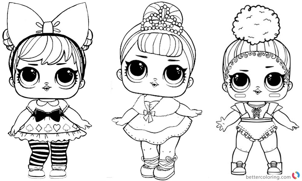 LOL Coloring Pages three dolls - Free Printable Coloring Pages
