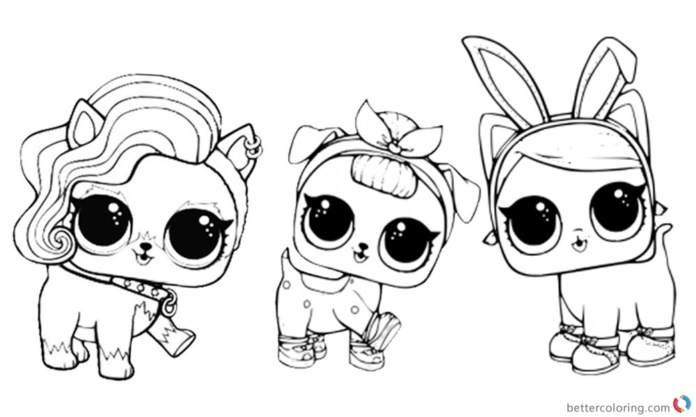 LOL Coloring Pages three lil dolls printable