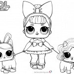 LOL Coloring Pages with two pet dolls
