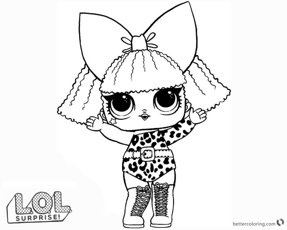 Lol surprise doll coloring pages diva free printable - Diva lol surprise ...