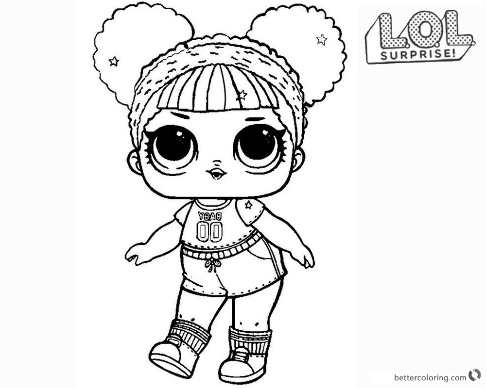 LOL Surprise Doll Coloring Pages Hoops mvp Glitter printable
