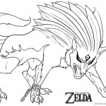 Legend of Zelda Coloring Page Twilight Wolf