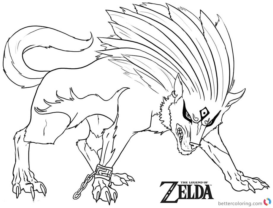 Legend of Zelda Coloring Page Twilight Wolf printable for free