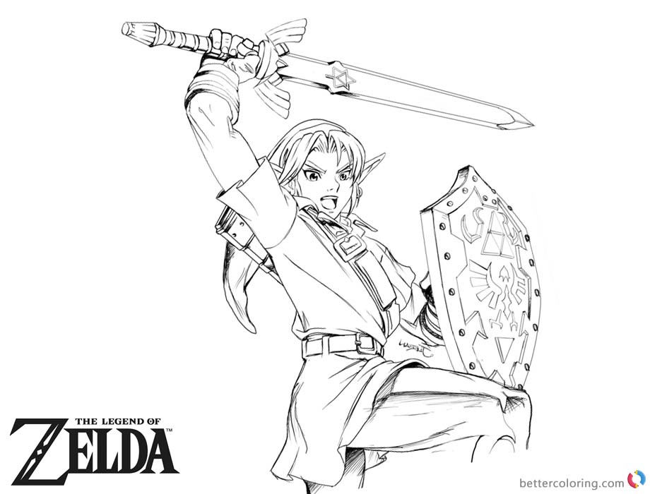 Legend of Zelda Coloring Pages Lineart printable for free