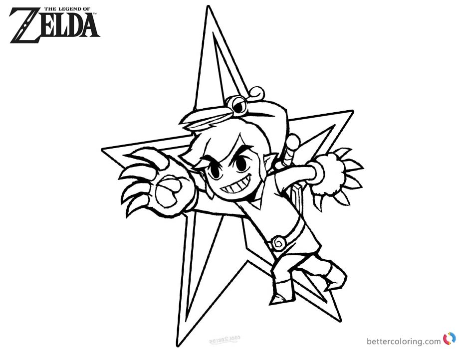 Legend Of Zelda Coloring Pages Link Bird Style Free Printable