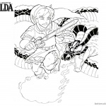 Legend of Zelda Coloring Pages Link Fight with Volvagia