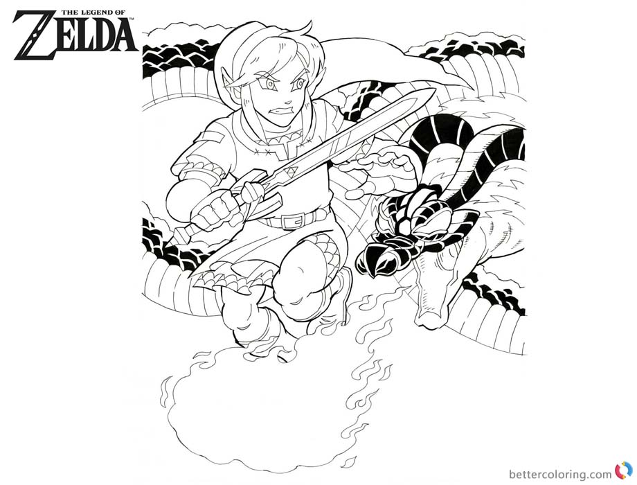 Legend of Zelda Coloring Pages Link Fight with Volvagia printable for free