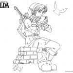Legend of Zelda Coloring Pages Link Playing Music