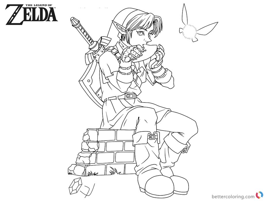 Legend of Zelda Coloring Pages Link Playing Music printable for free